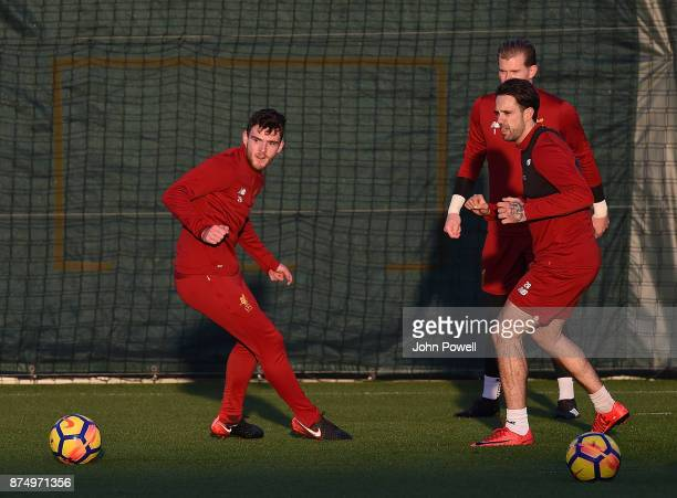 Danny Ings and Andrew Robertson of Liverpool during a training session at Melwood Training Ground on November 16 2017 in Liverpool England