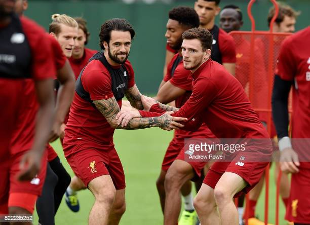 Danny Ings and Andy Robertson of Liverpool during a training session at Melwood Training Ground on July 25 2017 in Liverpool England