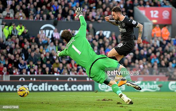 Danny Ings of Burnley celebrates scores the second goal during the Barclays Premier League match between Stoke City and Burnley at the Britannia...