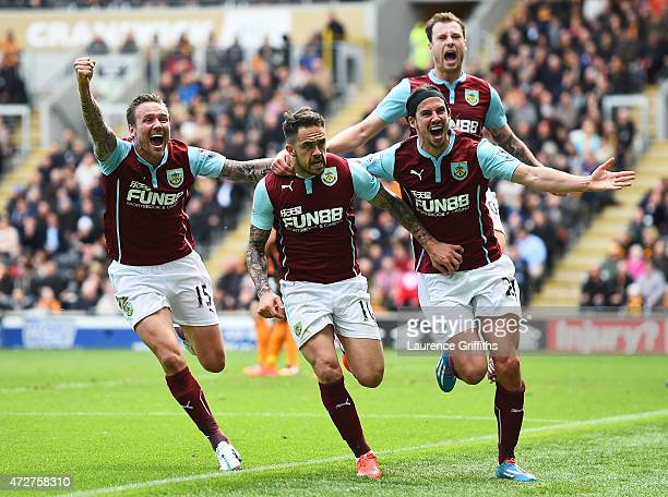 Danny Ings of Burnley celebrates scoring the opening goal with Matthew Taylor George Boyd and Ashley Barnes of Burnley during the Barclays Premier...