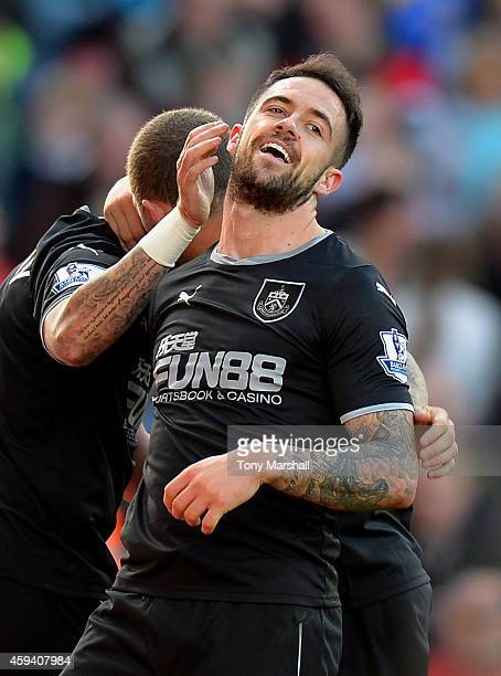 Danny Ings of Burnley celebrates scoring the second goal during the Barclays Premier League match between Stoke City and Burnley at the Britannia...