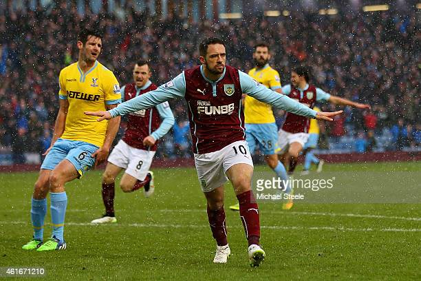 Danny Ings of Burnley celebrates scoring their second goal during the Barclays Premier League match between Burnley and Crystal Palace at Turf Moor...