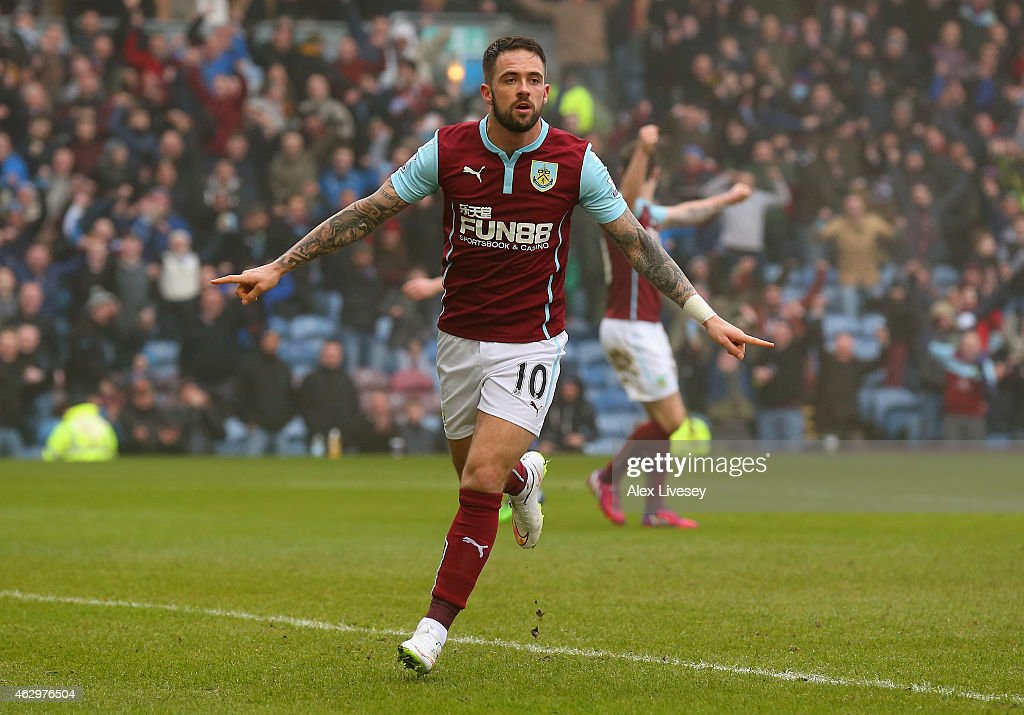 Danny Ings of Burnley celebrates scoring their second goal during the Barclays Premier League match between Burnley and West Bromwich Albion at Turf...