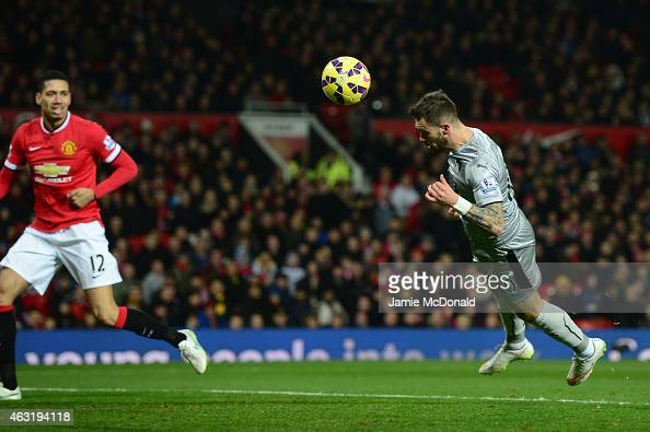 Danny Ings of Burnley scores his goal during the Barclays Premier League match between Manchester United and Burnley at Old Trafford on February 11...