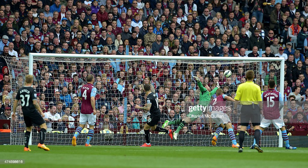 Danny Ings of Burnley scores with a header at Villa Park on May 24, 2015 in Birmingham, England.