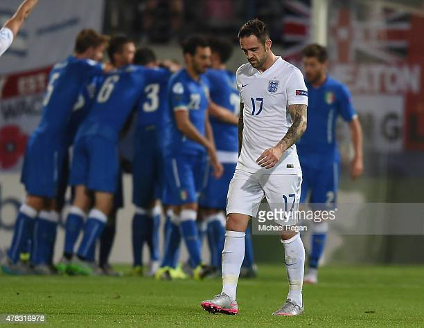 Danny Ings of England looks dejected after the 3rd Italy goal during the UEFA Under21 European Championship match between England and Italy at Andruv...