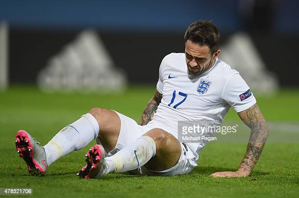 Danny Ings of England looks on during the UEFA Under21 European Championship match between England and Italy at Andruv Stadium on June 24 2015 in...