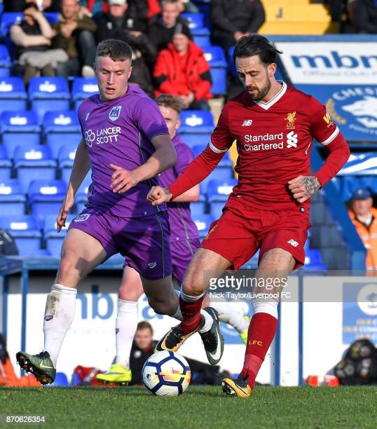 Danny Ings of Liverpool and George Nurse of Bristol City in action during the U23 Premier League Cup between Liverpool and Bristol City at The...