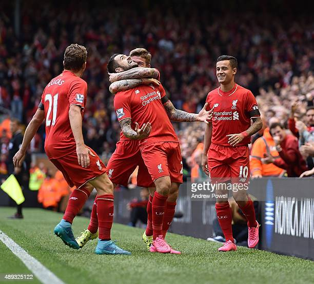 Danny Ings of Liverpool celebrates his goal during the Barclays Premier League match between Liverpool and Norwich City on September 20 2015 in...