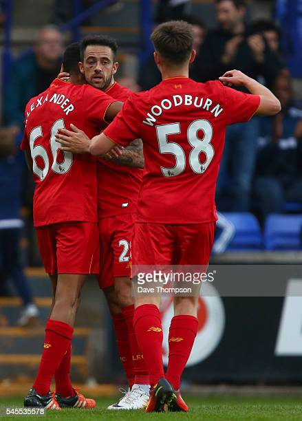 Danny Ings of Liverpool celebrates scoring the first goal during the PreSeason Friendly match between Tranmere Rovers and Liverpool at Prenton Park...