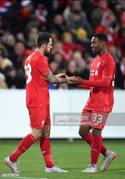 Danny Ings of Liverpool celebrates with Jordan Ibe of Liverpool after scoring a goal during the international friendly match between Adelaide United...
