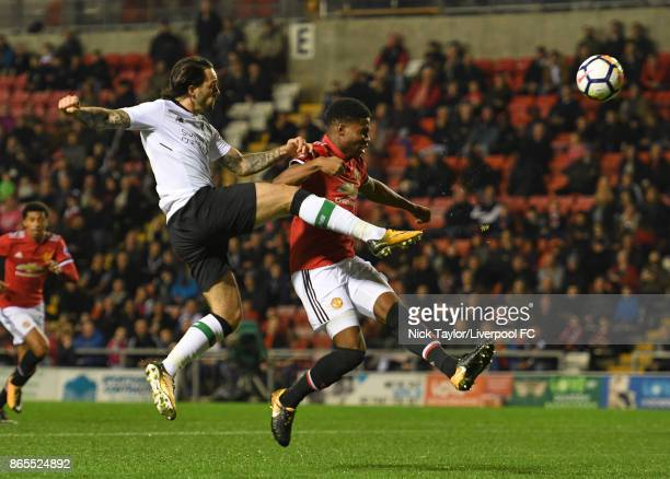 Danny Ings of Liverpool has a shot on goal during the Manchester United v Liverpool Premier League 2 game at Leigh Sports Village on October 23 2017...