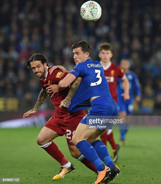 Danny Ings of Liverpool with Ben Chilwell of Leicester during the Carabao Cup third round match between Leicester City and Liverpool at The King...