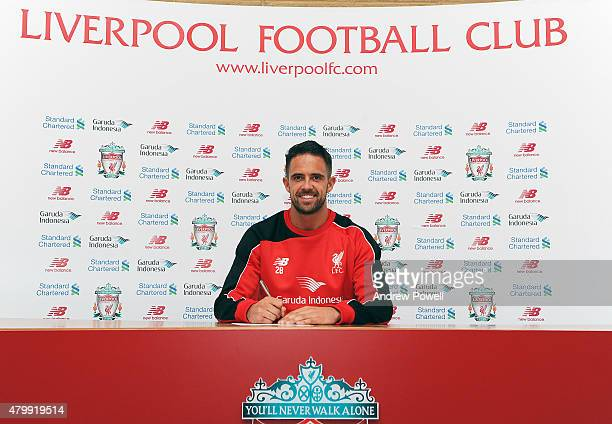 Danny Ings poses as he is unveiled as the new signing for Liverpool at Melwood Training Ground on July 8 2015 in Liverpool England