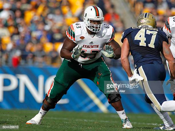 Danny Isidora of the Miami Hurricanes in action during the game against the Pittsburgh Panthers on November 27 2015 at Heinz Field in Pittsburgh...