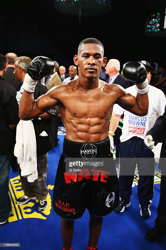 Danny Jacobs celebrates his knock out of Giovanni Lorenzo in the third round of their Junior Middleweight fight at Best Buy Theater on August 19, 2013 in New York City.