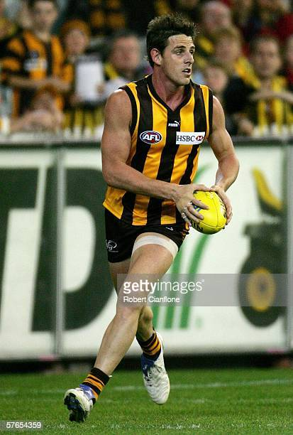Danny Jacobs of the Hawks in action during the round eight AFL match between the Hawthorn Hawks and the Melbourne Demons at the Melbourne Cricket...