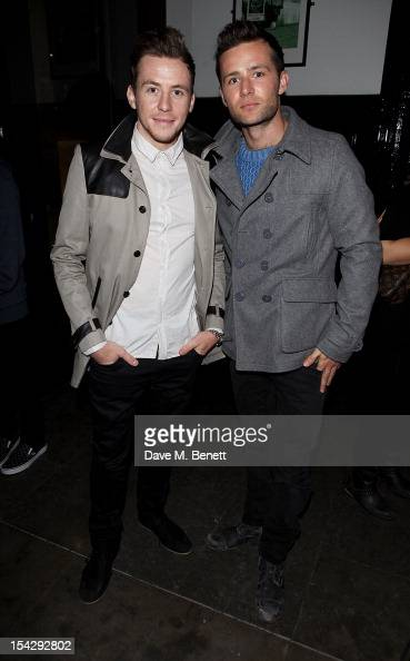Danny Jones and Harry Judd of McFly attend an after party following the press night performance of 'Loserville' at the National Cafe on October 17...