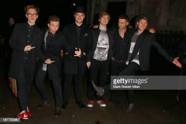 Danny Jones Dougie Poynter Matt Willis James Bourne Tom Fletcher and Harry Judd attending The Hunger Games Catching Fire after party on November 11...