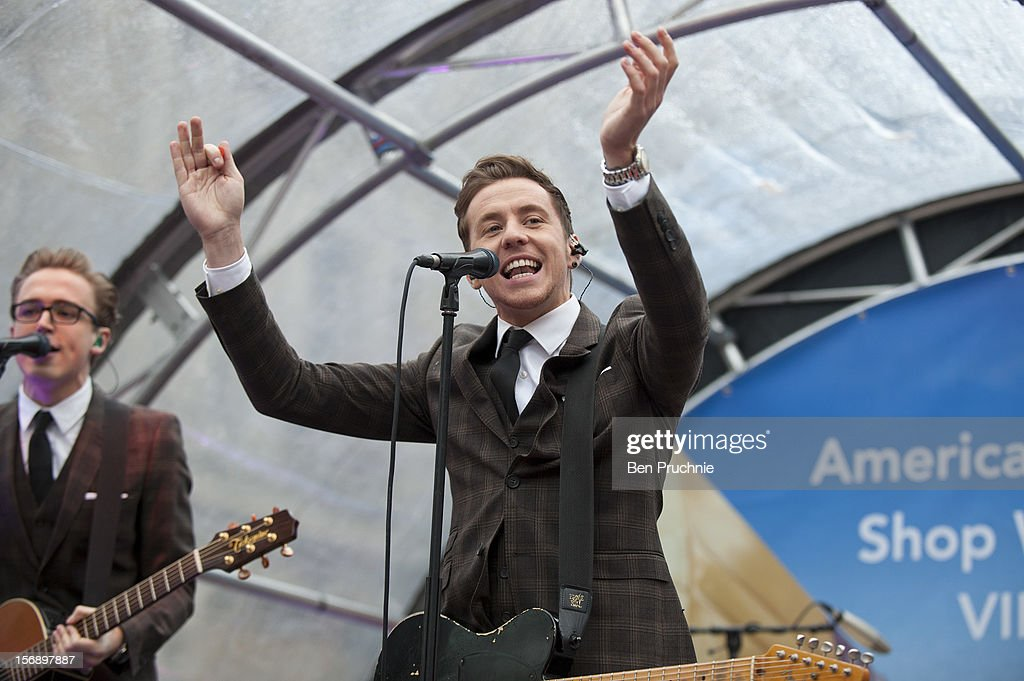 Danny Jones of Mcfly performs during the American Express Shop West end VIP Day on November 24, 2012 in London, England.