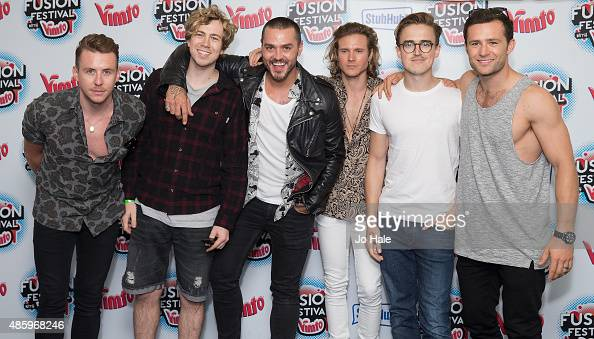 Danny JonesJames BourneMatt WillisDougie PoynterTom Fletcher and Harry Judd of McBusted pose in the Press Room at Fusion Festival at Cofton Park on...