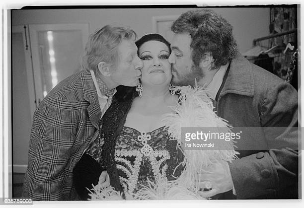 Danny Kaye and Luciano Pavarotti kiss Montserrat Caballe in a dressing room at the San Francisco Opera House Pavarotti as Mario Cavaradossi and...