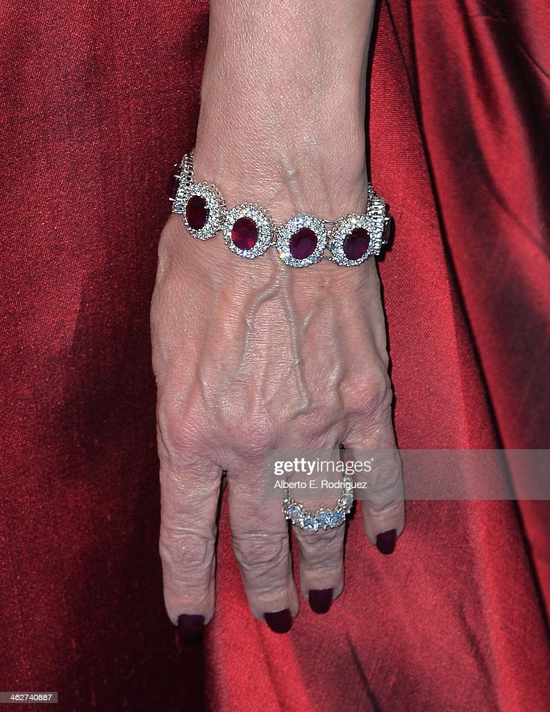 Danny Kaye Humanitarian Leadership Award recipient Ghada Irani (bracelet detail) arrives to the 2014 UNICEF Ball Presented by Baccarat at the Regent Beverly Wilshire Hotel on January 14, 2014 in Beverly Hills, California.