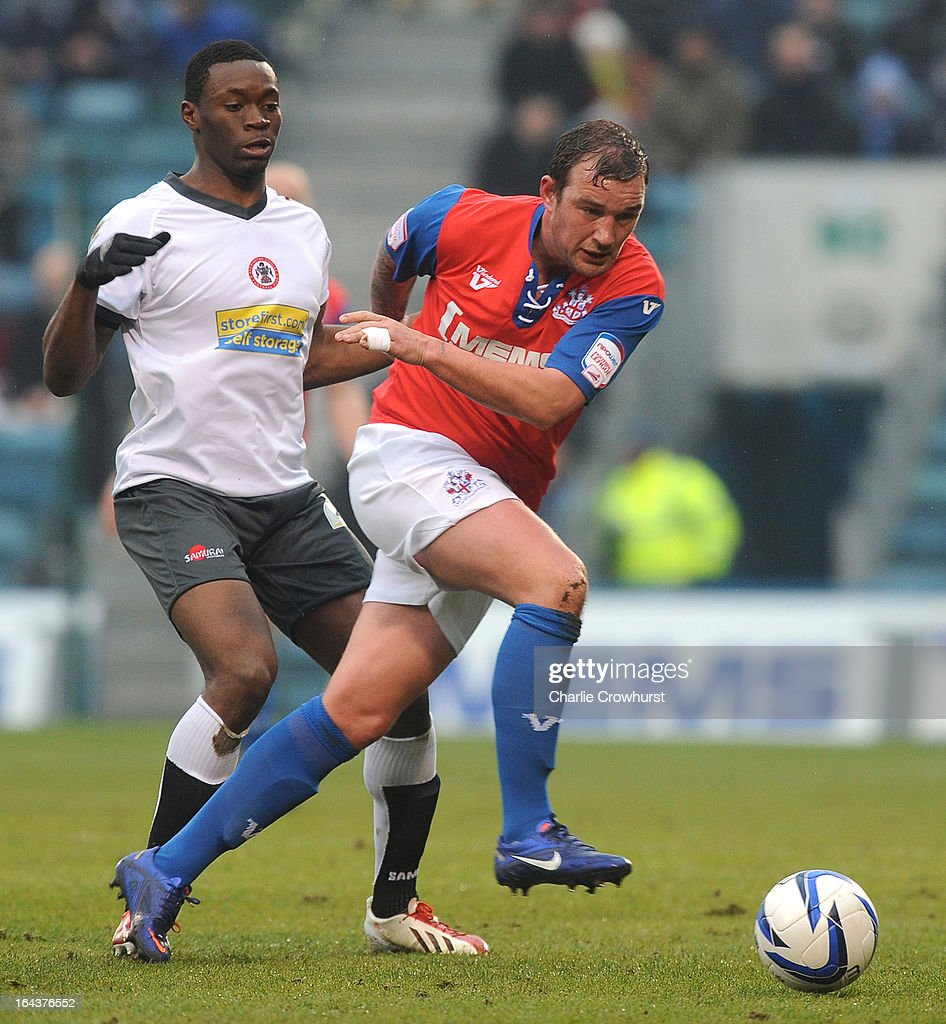 Danny Kedwell of Gillingham attacks during the npower League Two match between Gillingham and Accrington Stanley at The Priestfield Stadium on March 23, 2013 in Gillingham, England,