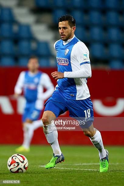 Danny Latza of Bochum runs with the ball during the Second Bundesliga match between VfL Bochum and VfR Aalen at Rewirpower Stadium on November 21...