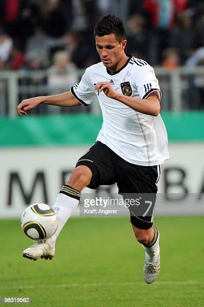 Danny Latza of Germany in action during the U20 international friendly match between Germany and Italy at the Millerntor Stadium on April 7 2010 in...