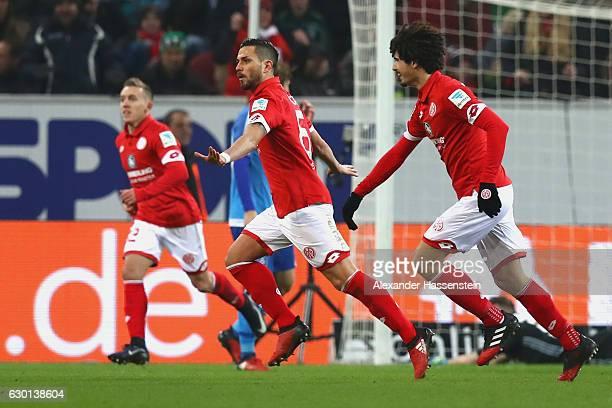 Danny Latza of Mainz celebrates scoring the 2nd team goal during the Bundesliga match between 1 FSV Mainz 05 and Hamburger SV at Opel Arena on...