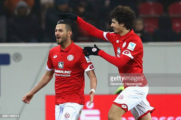 Danny Latza of Mainz celebrates scoring the 2nd team goal with his team mate Andre Ramalho Silva during the Bundesliga match between 1 FSV Mainz 05...