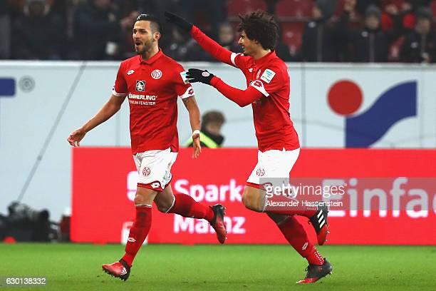 Danny Latza of Mainz celebrates scoring the 2nd team goal with his team mate Andre Ramalho Silva during the Bundesliga match between 1 FSV Mainz 05...