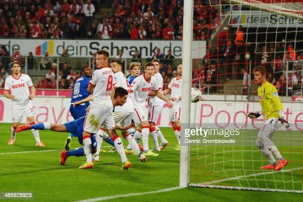 Danny Latza of VfL Bochum heads his team's first goal during the Second Bundesliga match between 1 FC Koeln and VfL Bochum at RheinEnergieStadion on...