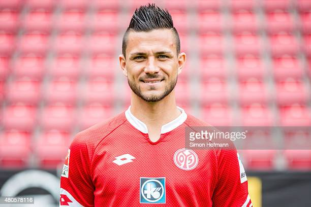 Danny Latza poses during the 1 FSV Mainz 05 Team Presentation at Coface Arena on July 12 2015 in Mainz Germany