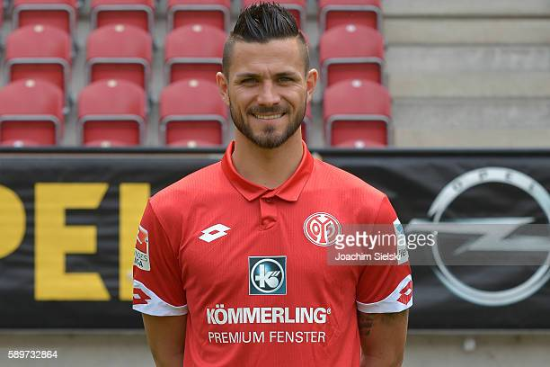 Danny Latza poses during the official team presentation of 1 FSV Mainz 05 at Opel Arena on July 25 2016 in Mainz Germany