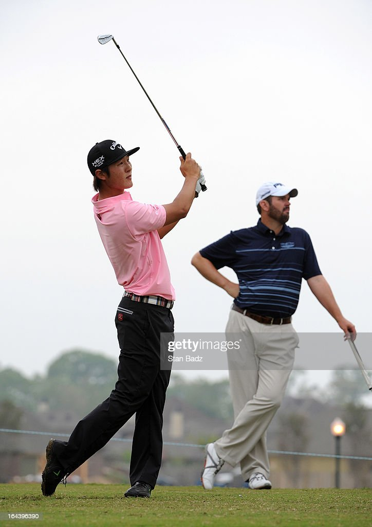 Danny Lee hits a tee shot on the sixth hole during the third round of the Chitimacha Louisiana Open at Le Triomphe Country Club on March 23, 2013 in Broussard, Louisiana.