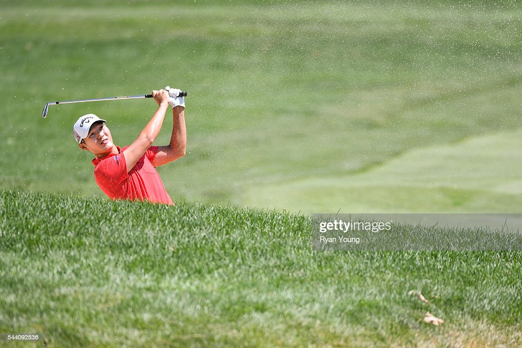 <a gi-track='captionPersonalityLinkClicked' href=/galleries/search?phrase=Danny+Lee+-+Golfer&family=editorial&specificpeople=5504075 ng-click='$event.stopPropagation()'>Danny Lee</a> hits from a fairway bunker on the second hole during the second round of the World Golf Championships-Bridgestone Invitational at Firestone Country Club on July 1, 2016 in Akron, Ohio.