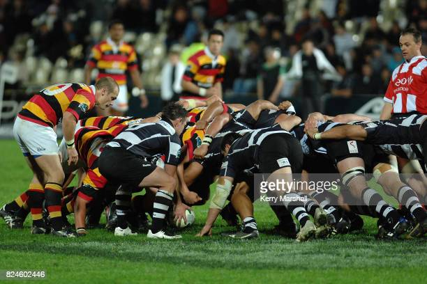 Danny Lee of Hawkes Bay feeds a scrum in the Air New Zealand Cup match between the Hawkes Bay and Waikato at McLean Park on September 20 2008 in...