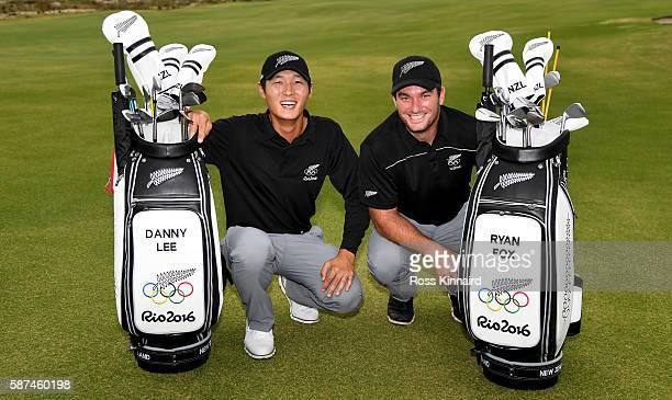 Danny Lee of New Zealand and Ryan Fox of New Zealand with their Olympic golf bags during a practice round at Olympic Golf Course on August 8 2016 in...