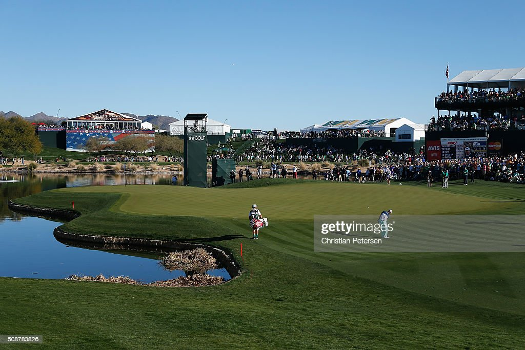 <a gi-track='captionPersonalityLinkClicked' href=/galleries/search?phrase=Danny+Lee+-+Golfer&family=editorial&specificpeople=5504075 ng-click='$event.stopPropagation()'>Danny Lee</a> of New Zealand chips onto the 17th hole during the third round of the Waste Management Phoenix Open at TPC Scottsdale on February 6, 2016 in Scottsdale, Arizona.