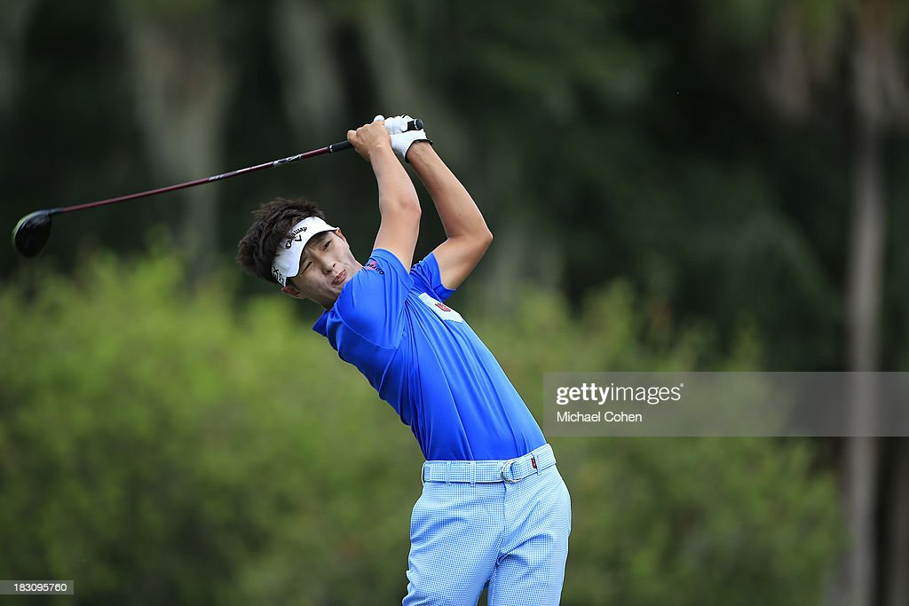 Danny Lee of New Zealand hits a drive during the final round of the Web.com Tour Championship held on the Dye's Valley Course at TPC Sawgrass on September 29, 2013 in Ponte Vedra Beach, Florida.