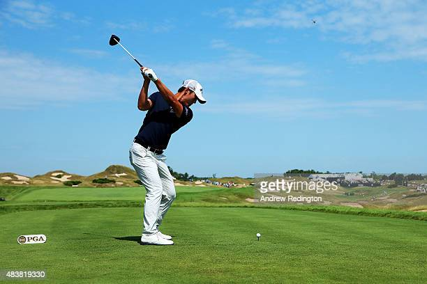 Danny Lee of New Zealand hits his tee shot on the 11th hole during the first round of the 2015 PGA Championship at Whistling Straits on August 13...