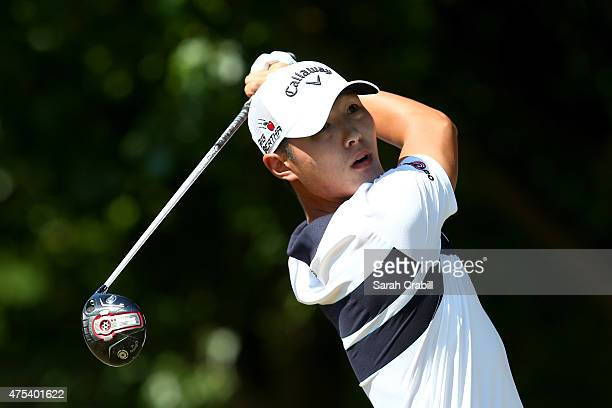 Danny Lee of New Zealand hits his tee shot on the first hole during the Final Round of the ATT Byron Nelson at the TPC Four Seasons Resort Las...