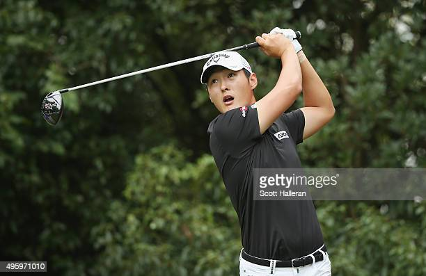Danny Lee of New Zealand hits his tee shot on the second hole during the second round of the WGC HSBC Champions at the Sheshan International Golf...