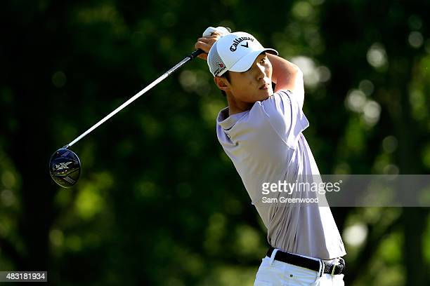 Danny Lee of New Zealand hits off the ninth tee during the first round of the World Golf Championships Bridgestone Invitational at Firestone Country...