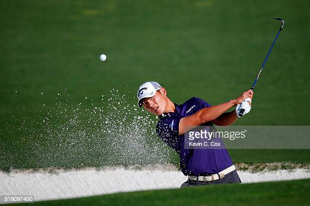 Danny Lee of New Zealand plays a shot during a practice round prior to the start of the 2016 Masters Tournament at Augusta National Golf Club on...