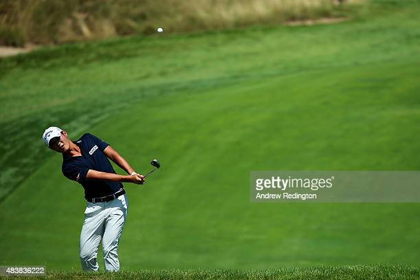 Danny Lee of New Zealand plays a shot during the first round of the 2015 PGA Championship at Whistling Straits on August 13 2015 in Sheboygan...