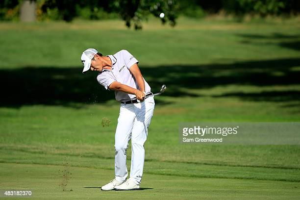 Danny Lee of New Zealand plays a shot on the sixth hole during the first round of the World Golf Championships Bridgestone Invitational at Firestone...