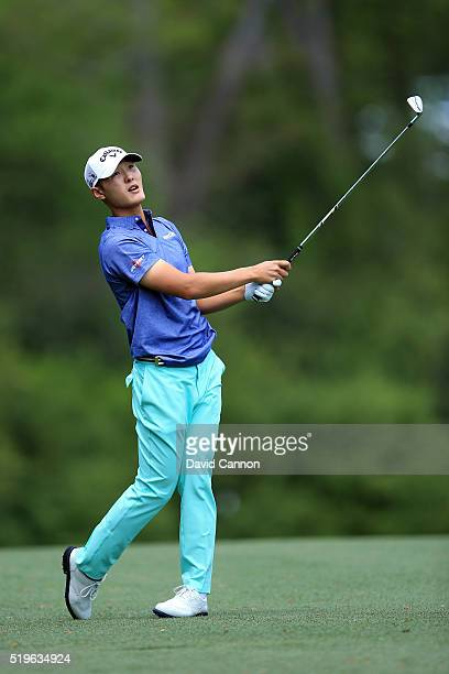 Danny Lee of New Zealand plays his second shot on the fifth hole during the first round of the 2016 Masters Tournament at Augusta National Golf Club...